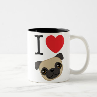 I Heart Fawn Pugs Two-Tone Coffee Mug