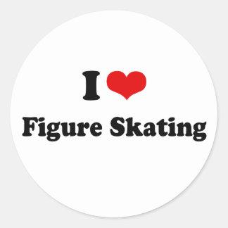 I Heart Figure Skating Round Sticker