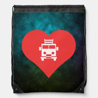 I Heart Firetrucks Icon Drawstring Backpacks