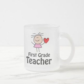 I Heart First Grade Teacher 10 Oz Frosted Glass Coffee Mug