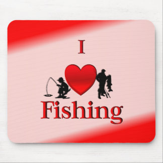 I Heart Fishing Mouse Pad