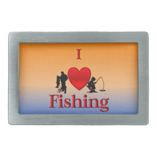 I Heart Fishing Rectangular Belt Buckles
