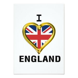 I Heart Flag England 13 Cm X 18 Cm Invitation Card