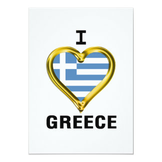 I Heart Flag Greece 13 Cm X 18 Cm Invitation Card