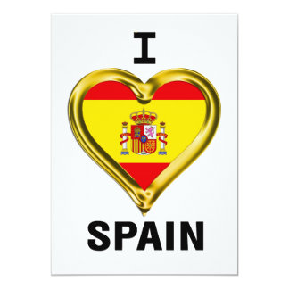 I Heart Flag Spain 13 Cm X 18 Cm Invitation Card