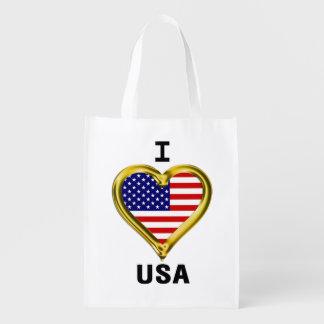 I Heart Flag USA Reusable Grocery Bag