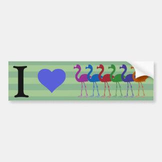 """""""I Heart Flamingos"""" Bumper Sticker (Green/Ultrav)"""