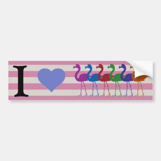 """""""I Heart Flamingos"""" Bumper Sticker (Pink/Peri)"""