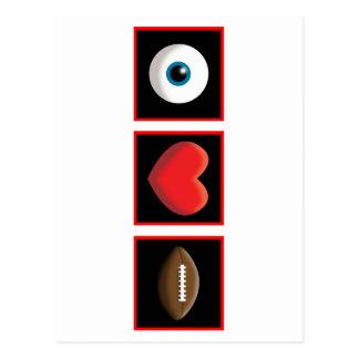 I HEART FOOTBALL POSTCARD