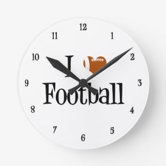 I Heart Football Round Clock