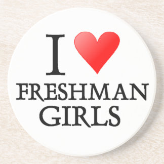 I heart freshman girls beverage coaster