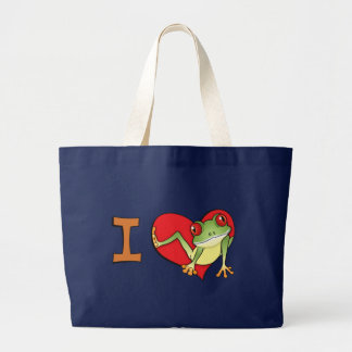 I heart frogs large tote bag