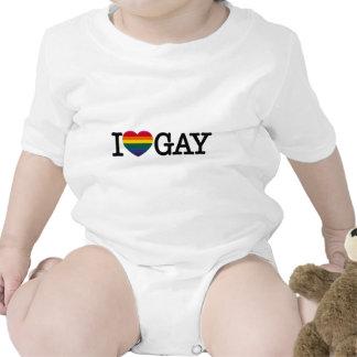 I heart gay Rainbow Heart (rectangle) Bodysuits