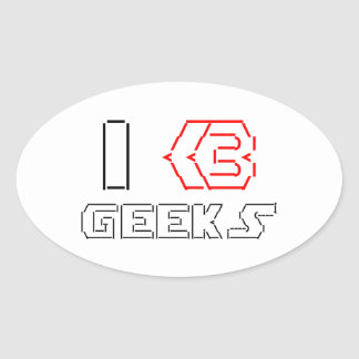 I Heart Geeks ASCII ART Oval Sticker
