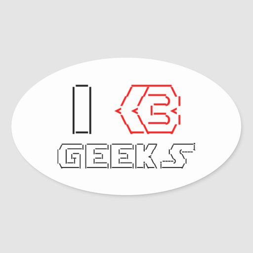I Heart Geeks ASCII ART Oval Sticker