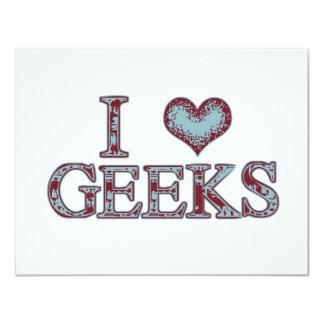"I Heart Geeks 4.25"" X 5.5"" Invitation Card"