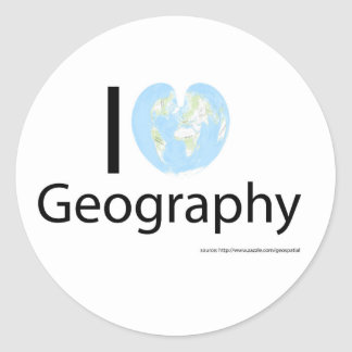 I heart Geography Classic Round Sticker