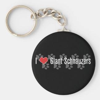 I (heart) Giant Schnauzers Basic Round Button Key Ring