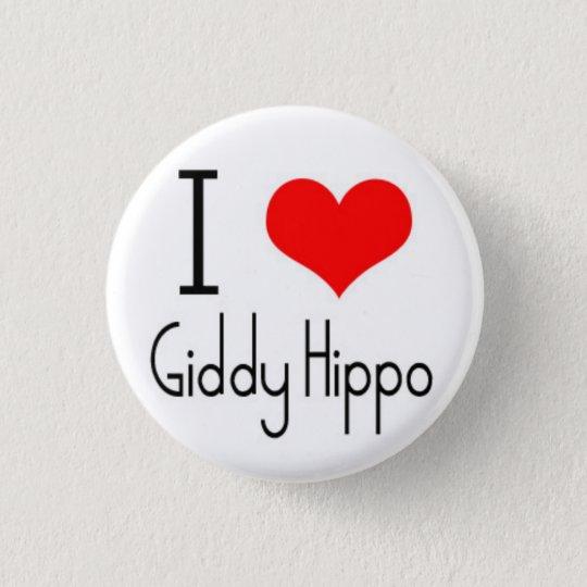 I Heart Giddy Hippo 3 Cm Round Badge