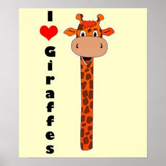 I heart giraffe poster