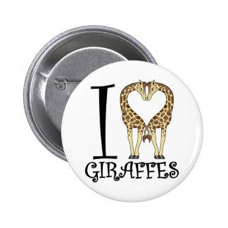 I Heart Giraffes 6 Cm Round Badge