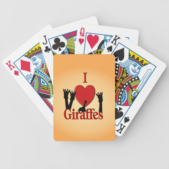 I Heart Giraffes Bicycle Playing Cards