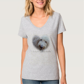 I heart Goldendoodles Ladies v-neck tee shirt