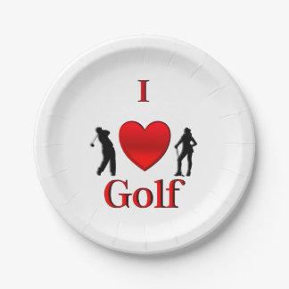 I Heart Golf Paper Plate
