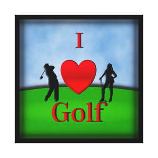 I Heart Golf Wrapped Canvas Print