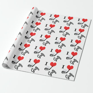 I heart golf wrapping paper