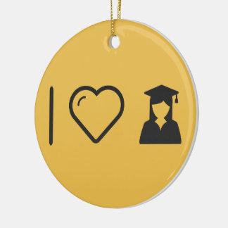 I Heart Graduate Girls Round Ceramic Decoration