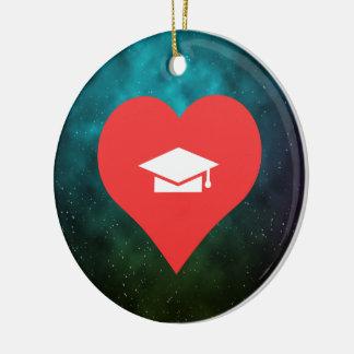I Heart Graduating Icon Round Ceramic Decoration