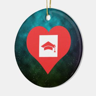 I Heart Graduation Photographs Icon Round Ceramic Decoration