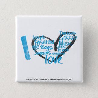 I Heart Graffiti Aqua 15 Cm Square Badge