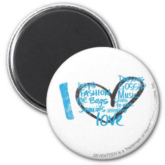 I Heart Graffiti Aqua 6 Cm Round Magnet