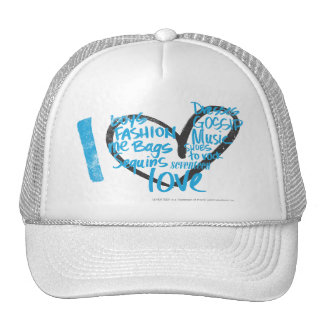 I Heart Graffiti Aqua Mesh Hats