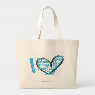 I Heart Graffiti Aqua Large Tote Bag