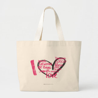 I Heart Graffiti Magenta Large Tote Bag