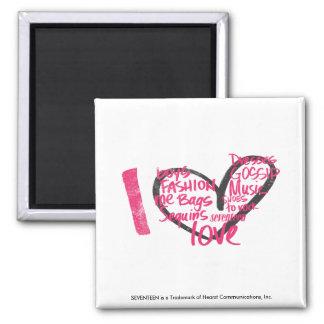 I Heart Graffiti Magenta Square Magnet