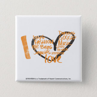 I Heart Graffiti Orange 15 Cm Square Badge