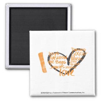 I Heart Graffiti Orange Square Magnet