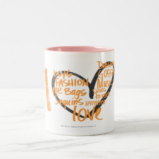 I Heart Graffiti Orange Two-Tone Coffee Mug