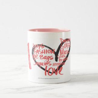 I Heart Graffiti Pink Two-Tone Coffee Mug
