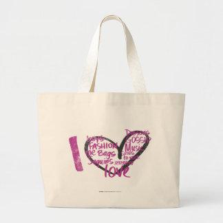 I Heart Graffiti Purple Large Tote Bag