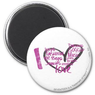 I Heart Graffiti Purple 6 Cm Round Magnet