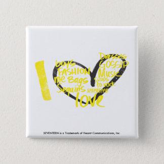 I Heart Graffiti Yellow 15 Cm Square Badge