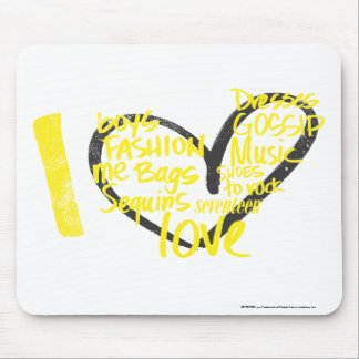 I Heart Graffiti Yellow Mouse Mat