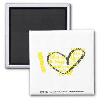 I Heart Graffiti Yellow Square Magnet