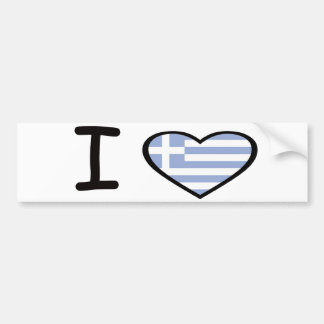 I Heart Greece Car Bumper Sticker