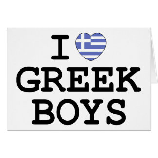 I Heart Greek Boys Cards
